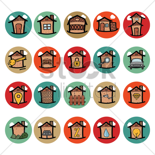 collection of house related icons vector graphic