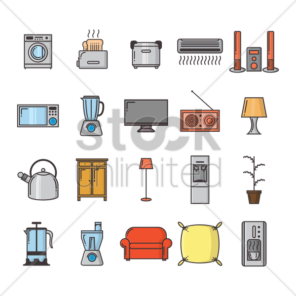 collection of household appliances vector graphic
