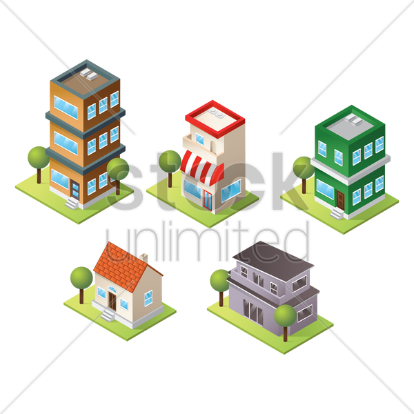 collection of houses vector graphic