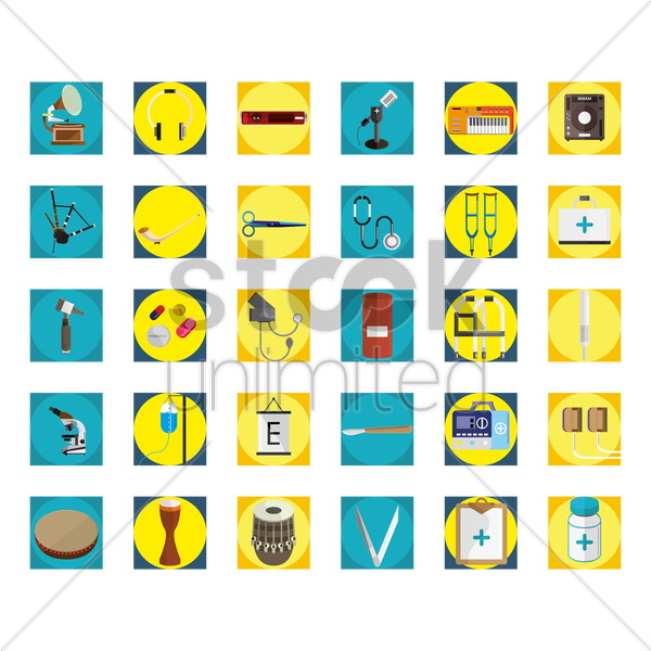 collection of icons vector graphic