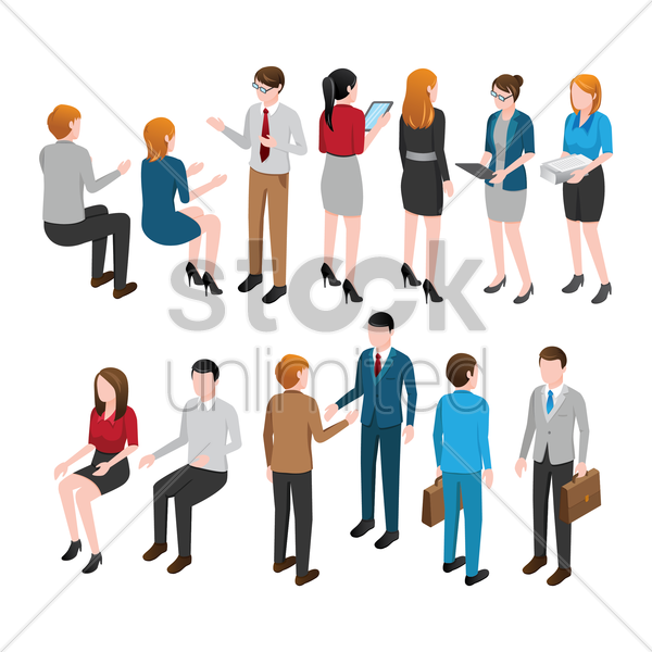 collection of isometric people and activities vector graphic