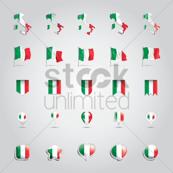 collection of italian flags vector graphic
