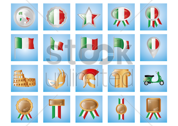 collection of italian items vector graphic