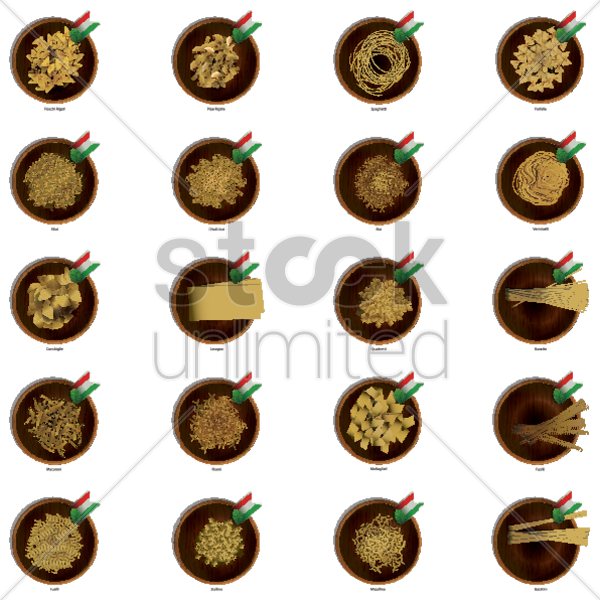 collection of italian pasta vector graphic