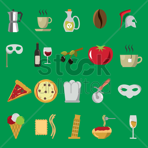 collection of italy icons vector graphic