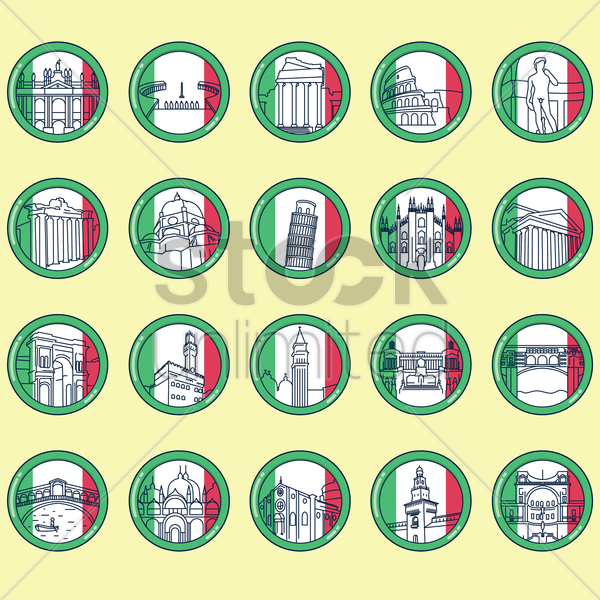 Free collection of italy landmarks vector graphic