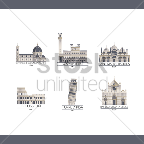 collection of italy monuments vector graphic
