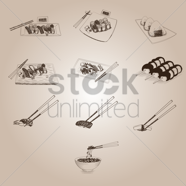 collection of japanese food icons vector graphic