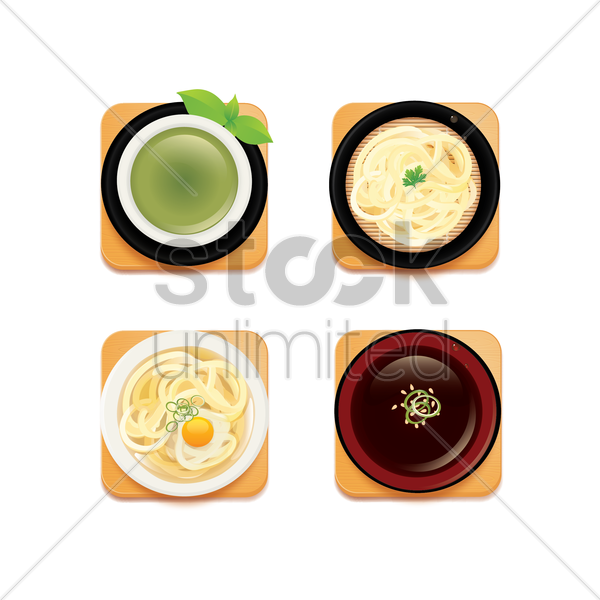 collection of japanese food vector graphic