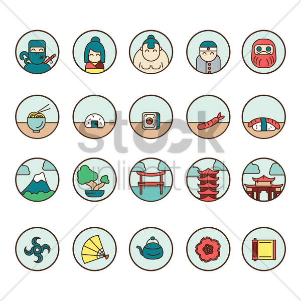 collection of japanese icons vector graphic