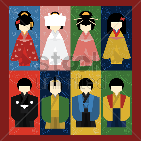 collection of japanese people vector graphic