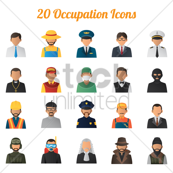 collection of job icons vector graphic