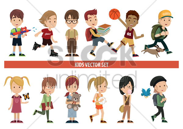 collection of kids in various activities vector graphic
