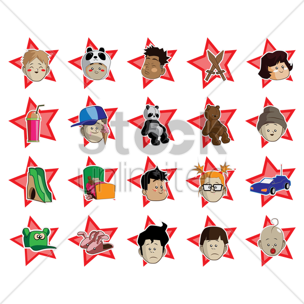 collection of kids toy vector graphic