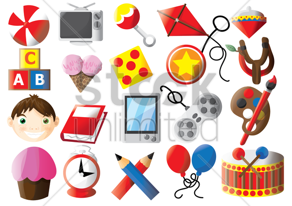 collection of kids toys and accessories vector graphic