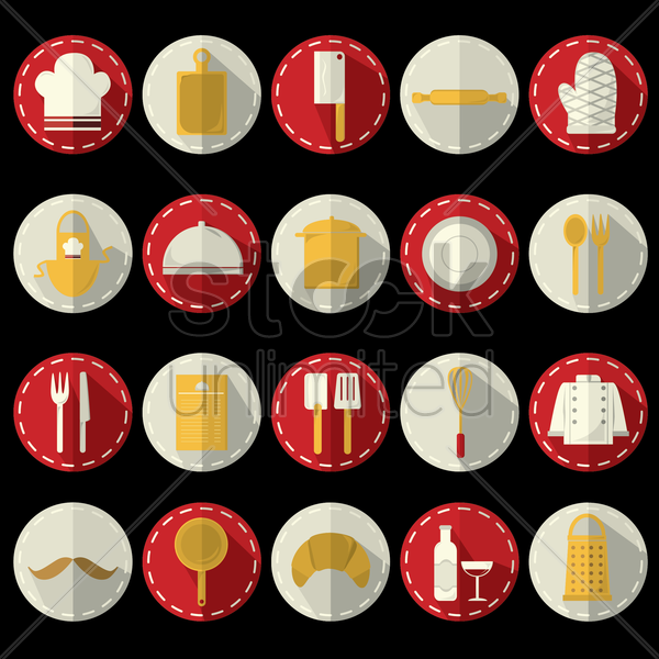 collection of kitchen related objects vector graphic