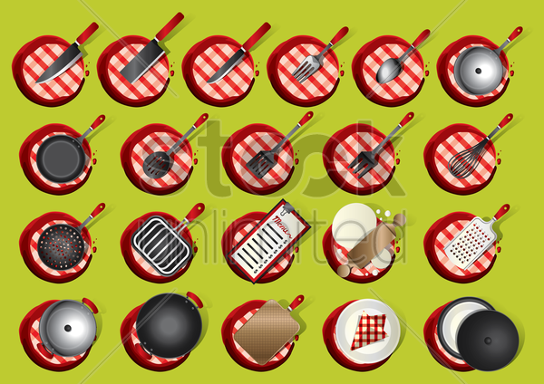 collection of kitchenware vector graphic