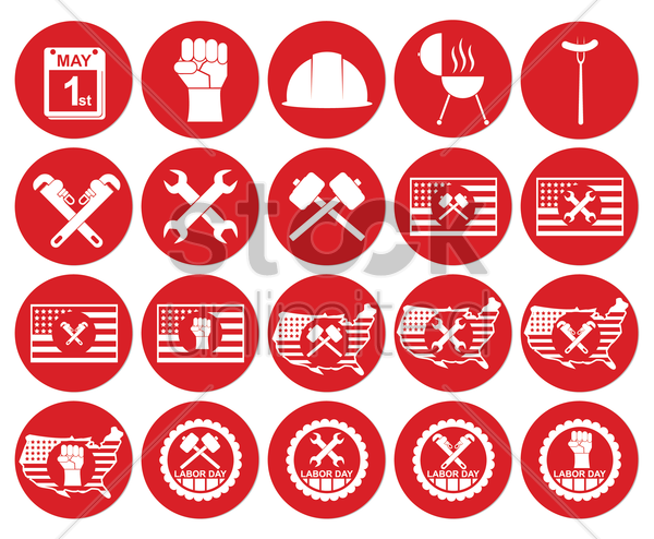 collection of labor day icons vector graphic