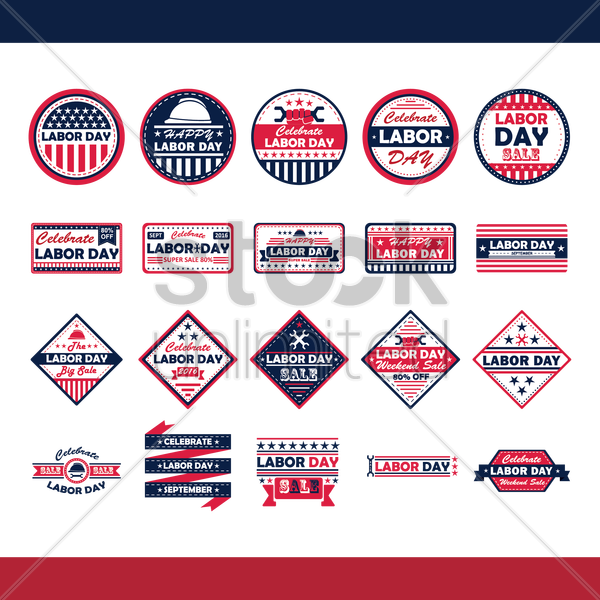 collection of labor day labels vector graphic