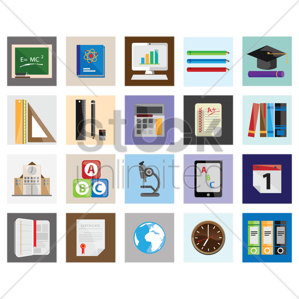 collection of learning icons vector graphic