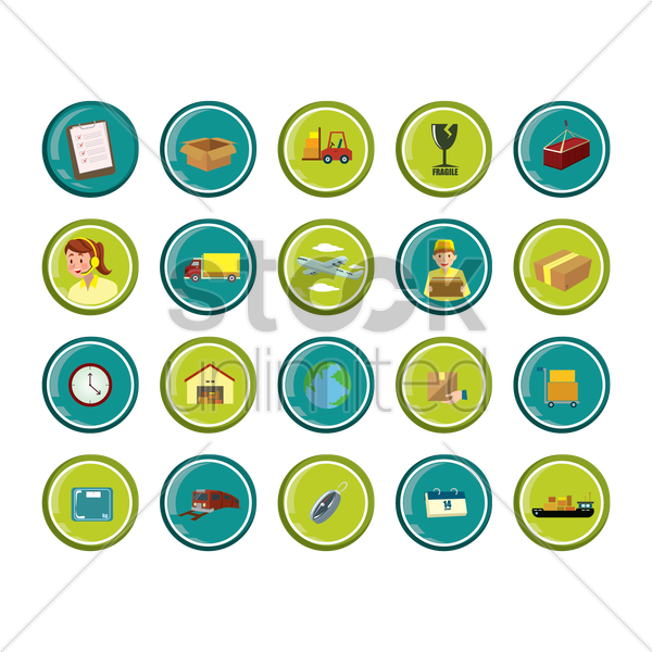 collection of logistic equipment vector graphic
