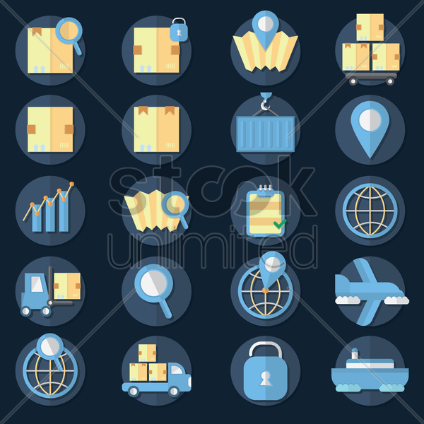 collection of logistic icons vector graphic