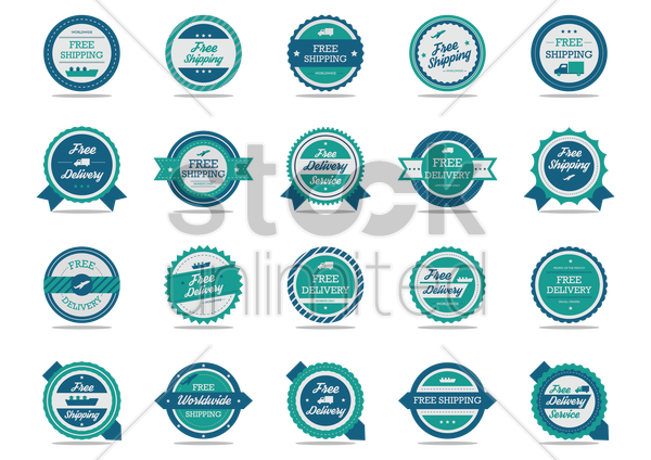 collection of logistic labels vector graphic