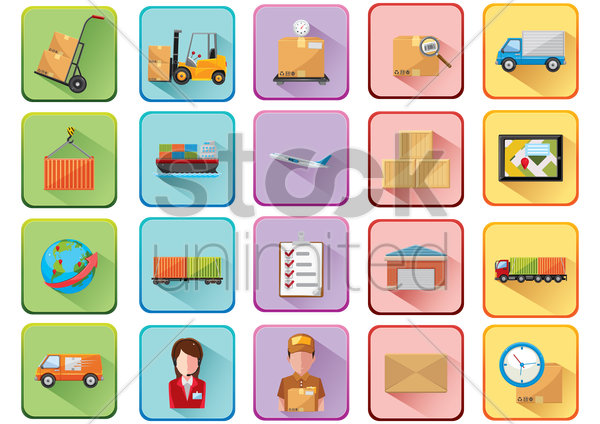 collection of logistics related icons vector graphic