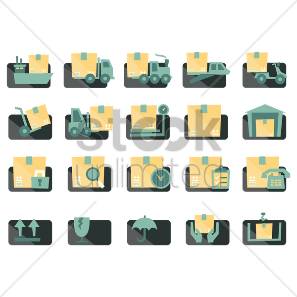collection of logistics related objects vector graphic