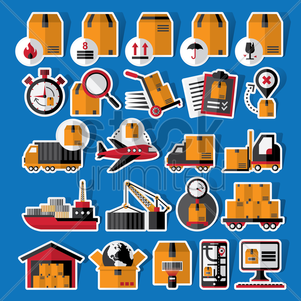collection of logistics stickers and labels vector graphic