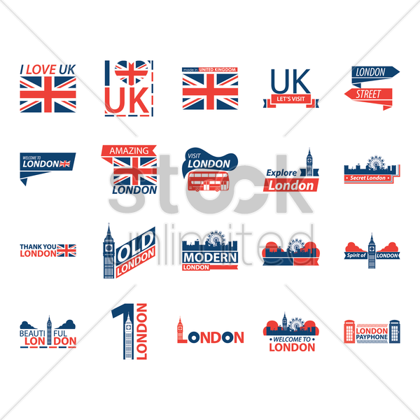 collection of london icons vector graphic