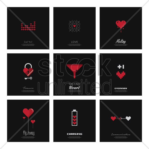 collection of love concept backgrounds vector graphic