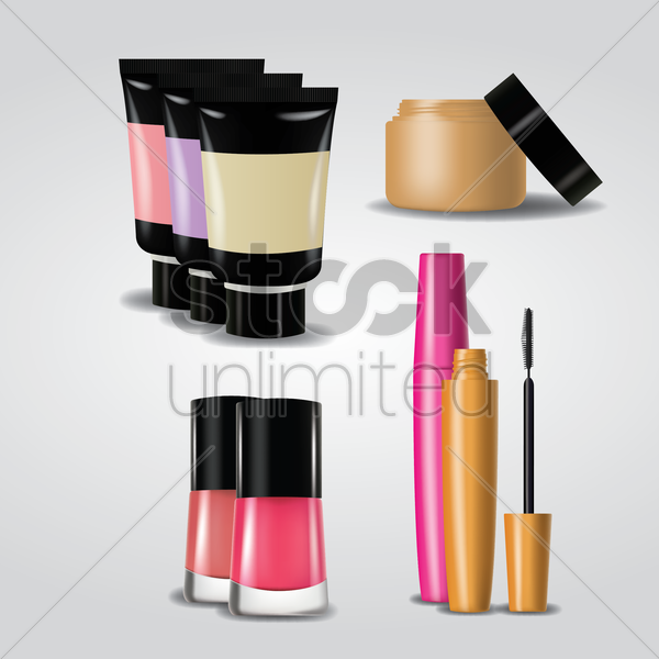 collection of makeup products vector graphic