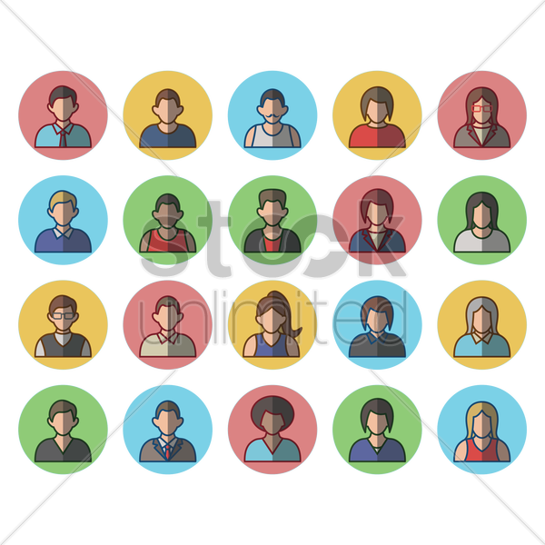 collection of man and woman avatars vector graphic