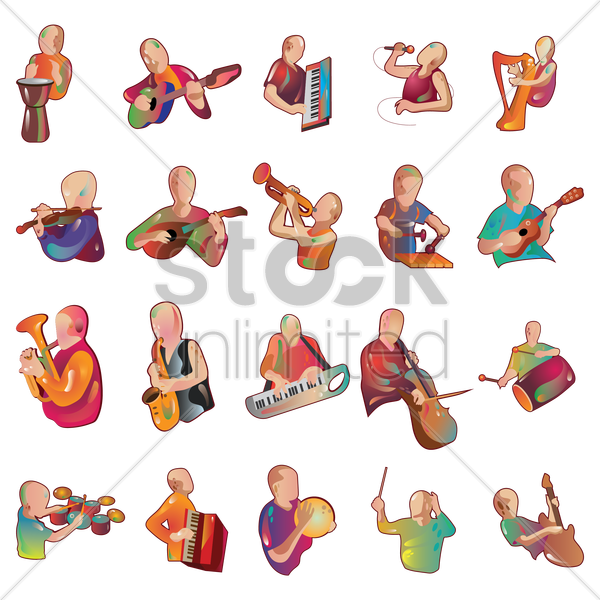 collection of man playing instruments vector graphic