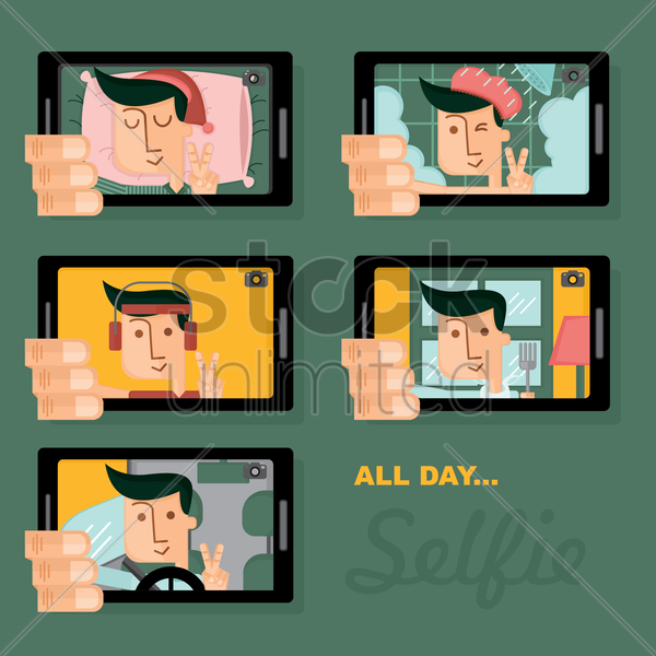 collection of man's selfie photos vector graphic