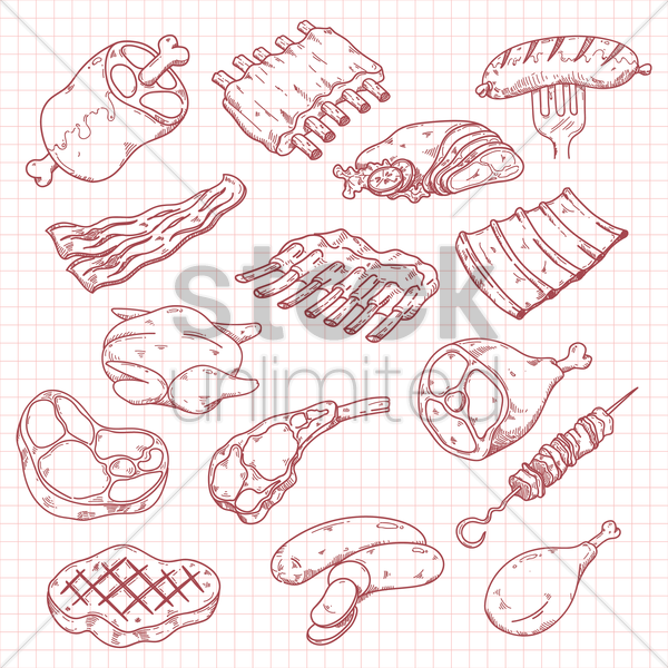 collection of meat icons vector graphic