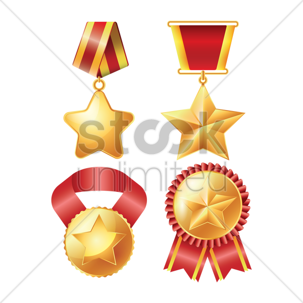 collection of medals vector graphic