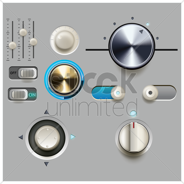 collection of media buttons vector graphic