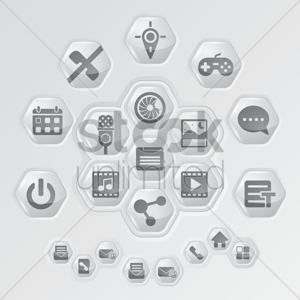 collection of media icon vector graphic