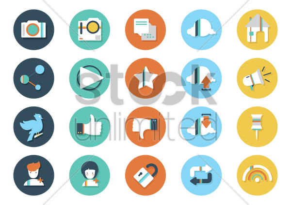 collection of media icons vector graphic