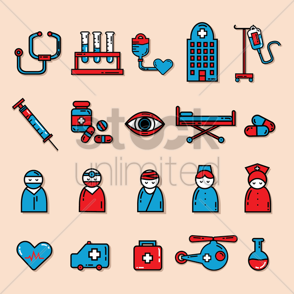 collection of medical equipments vector graphic
