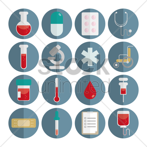 collection of medical icons vector graphic