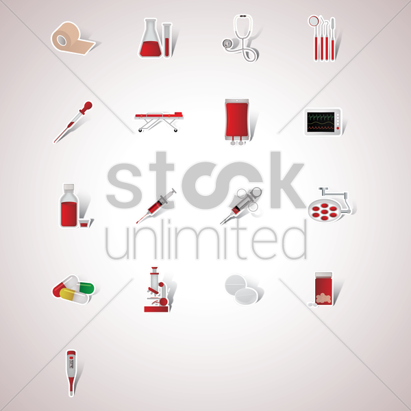 collection of medical items vector graphic