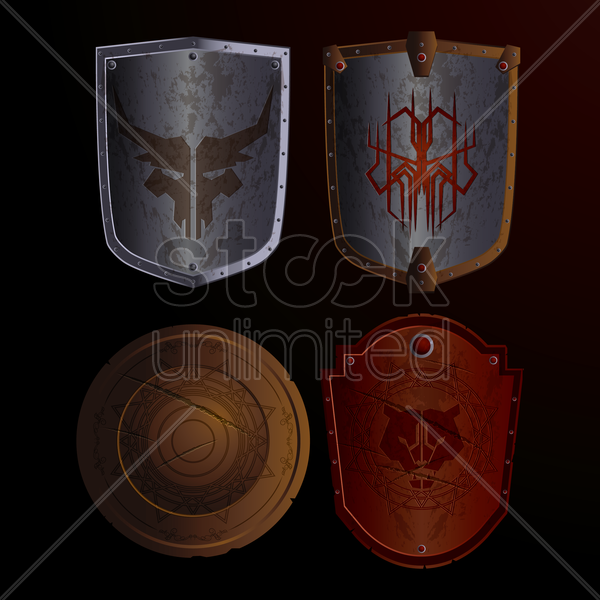collection of medieval shields vector graphic