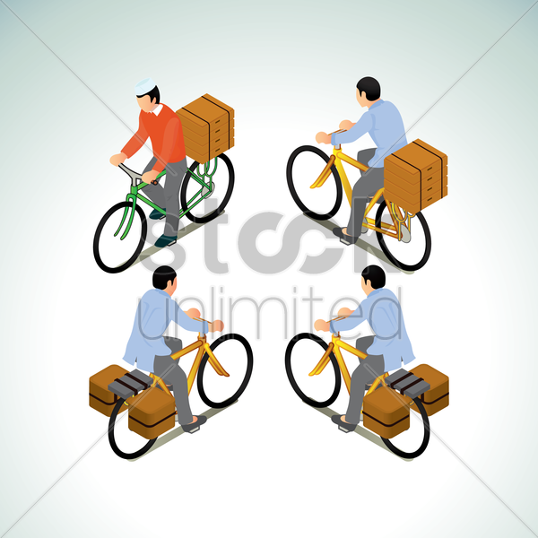 collection of men riding bicycle with box vector graphic