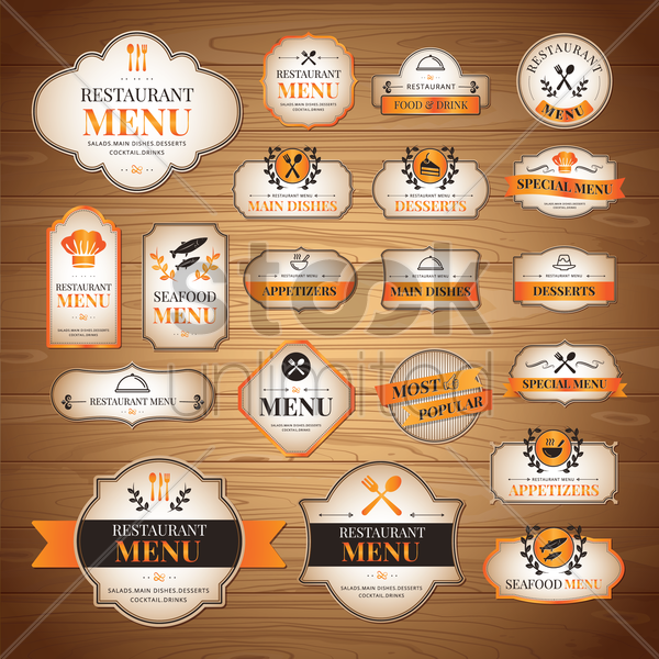 collection of menu icons vector graphic