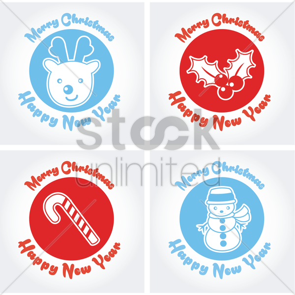 collection of merry christmas and new year cards vector graphic