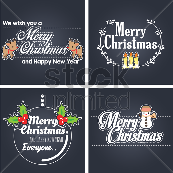 collection of merry christmas cards vector graphic
