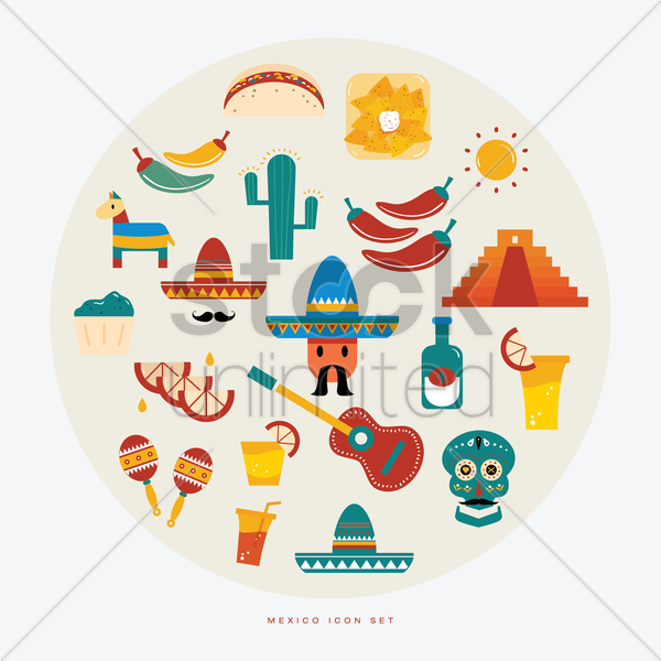 collection of mexican icon vector graphic